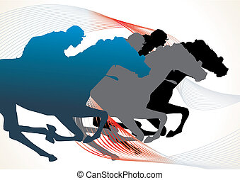 horse race - detail horse silhouette collection - vector...