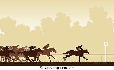 Horse race - Editable vector illustration of a horse race ...