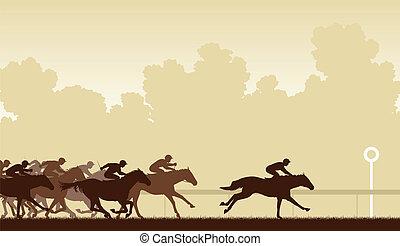 Horse race - Editable vector illustration of a horse race...