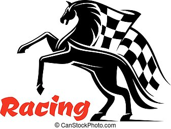 Horse race icon with racing checkered flag
