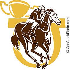 horse race jockey racing horseshoe - illustration of horse...