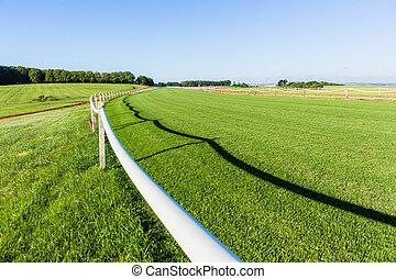 Horse Race Track Railing Green Landscape