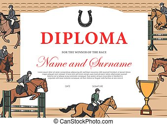 Horse race winner diploma, certificate template