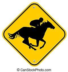 Horse race - Yellow sign with a fast horse and a jockey