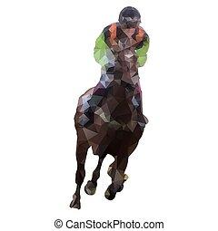 Horse racing, abstract polygonal vector illustration