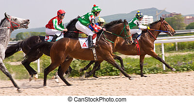 The race for the prize of the Victory Day in Pyatigorsk, Northern Caucasus, Russia.