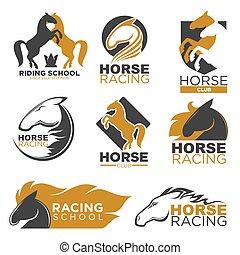 Horse racing colorful logo label set isolated on white