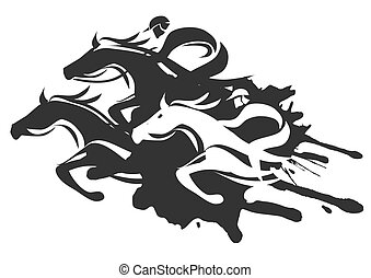 Illustration of Horse Racing at Full Speed. Black Vector illustration on white background