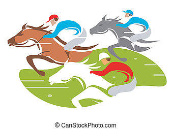 Illustration of Horse Racing at Full Speed. Vector illustration on white background.