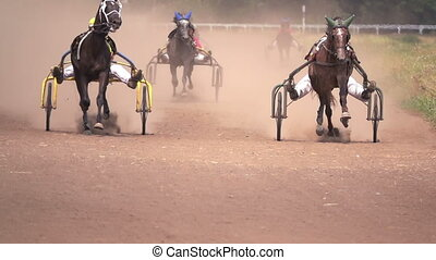 Horse Racing Of The Wagons - Horse Racing Close Up Of The...