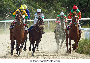 Start gates for horse races for the prize of Pyatigorsk, Northern Caucasus, Russia.