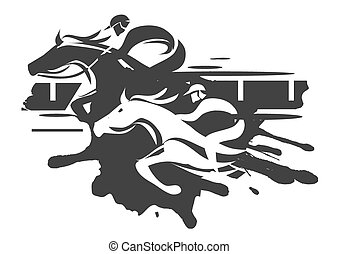 Horse racing - Two racing jockeys at Full Speed. Black...