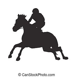 Horse racing vector silhouette