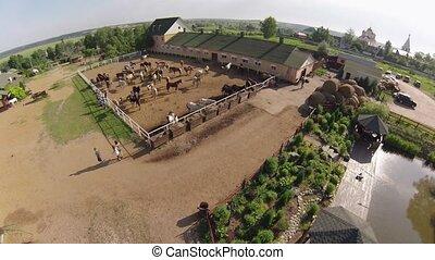 Horse ranch, air view