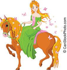 horse., ridande, prinsessa, fjäder