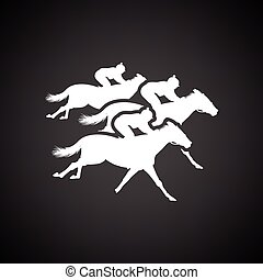 Horse ride icon. Black background with white. Vector...