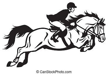 horse rider equestrian jumping, black and white side view...