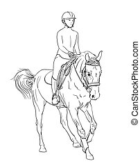 horse rider line art vector. equestrian sports theme illustration