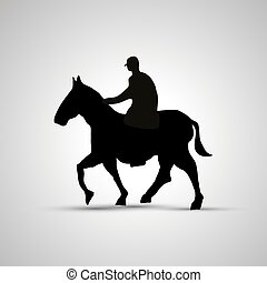 Horse rider silhouette, side view simple black icon