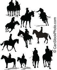 Horse rider silhouettes. Vector illustration