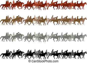 Big group of horses with riders. Color vector illustration.