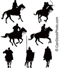 Horse riders - Historical horse riders. Knights and archer...