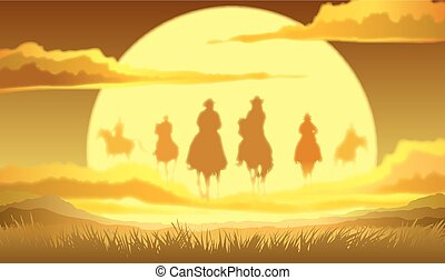 Horse riders in the sky