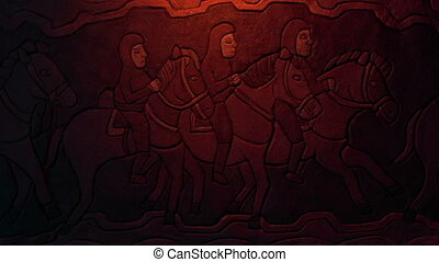 Old stone carving of generic men on horseback in fire glow