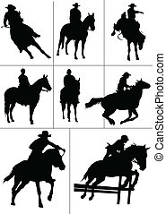 Horse riders silhouettes. Vector i
