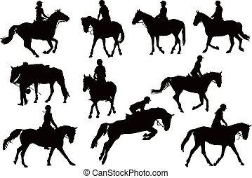 Horse riders ten vector silhouettes. Black on white background.