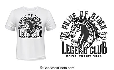 Horse riding club t-shirt vector print template