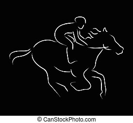 Horse Riding - Simple graphic of a jockey riding a horse