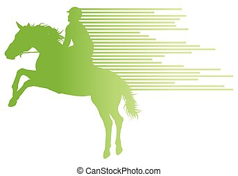 Horse riding equestrian sport with horse and rider vector background concept