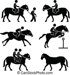 A set of pictograms representing horse training and equestrian.
