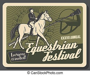Horse riding sport retro banner with equestrian