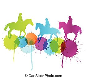 Horse riding vector background concept with color splashes...