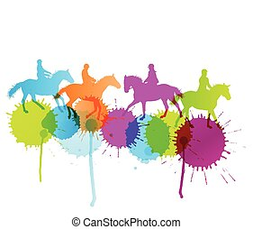 Horse riding vector background concept with color splashes
