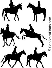 Horse riding - Vector illustration six horse riders on white...