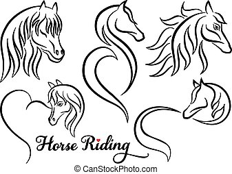 Horse riding, vector set - Horse riding, horse heads, set of...