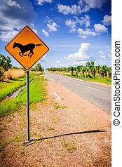 Horse road sign