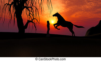 Horse Running under Sunset in the Desert with woman silhouette