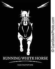 White Horse. elegant running horse. Front view of running horse. suitable for team identity, sport club logo or mascot, insignia, embellishment, equestrian club, sign, illustration for apparel, etc
