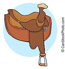 Leather Horse Saddle Over A Blue Circle