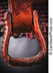 horse saddle leather and various equipment