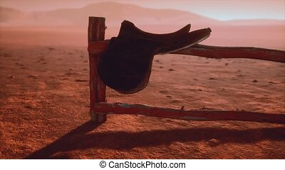 Horse Saddle on the Fence in Monument Valley. Arizona. USA