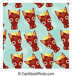 Horse Seamless pattern with funny cute animal face on a blue background
