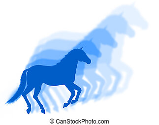 Horse shadows - Horse in silhouette with other silhouette...