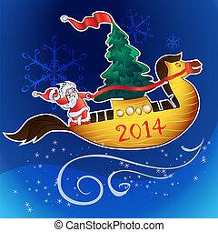 horse-ship and santa