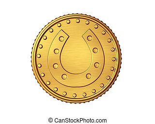 Horse shoe gold coin - isolated in white background