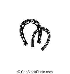 Horse shoe icon. Lucky steel horseshoes vector set isolated on w